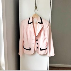 Vintage blush pink color block cropped blazer